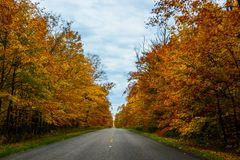 Fall road in Pictured Rocks National Lakeshore, Munising, MI, US. Gorgeous display of fall colors, leaves, red, orange, green and yellow trees with both side of Stock Photos