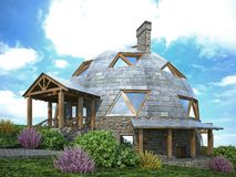 Gorgeous dome home of the future. Green Design, Innovation, Architecture. 3D rendering stock illustration