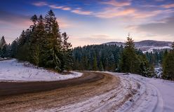 Gorgeous dusk over serpentine in winter mountains. Road turnaround in spruce forest Stock Photography