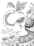 Gorgeous elephant coloring page Stock Photography