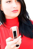 Gorgeous emotional brunette with mobile phone Royalty Free Stock Photos
