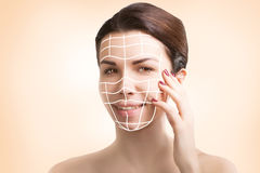 Gorgeous european model portrait with skin surgery mark isolated Stock Photo