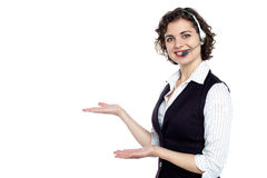Gorgeous executive presenting copy space Stock Images