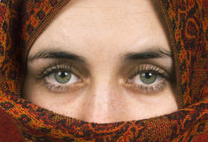 Gorgeous eyes. The beautiful eyes of a woman with headscarf Royalty Free Stock Photo