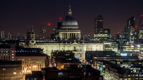 Gorgeous facade of St. Paul`s Cathedral at night in London. Main London Anglican place of worship from a distance at night. The seat of the Bishop of London and Royalty Free Stock Photos