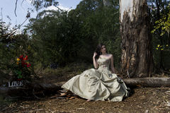 Gorgeous fantasy bride in forest stock photography