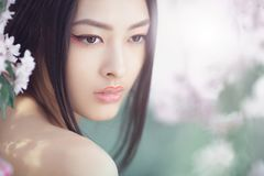 Portrait of a beautiful fantasy asian girl outdoors against natural spring flower background. Gorgeous fantasy girl face close-up against nature beauty Stock Photos