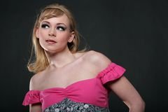 Gorgeous fashion model headshot. Gorgeous blond fashion model headshot Stock Photos