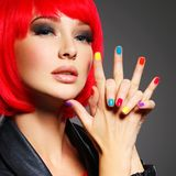 Gorgeous fashion woman with red hair and black jacket Royalty Free Stock Photos