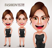 Gorgeous Fashionable Woman Vector Character Posing Like Model. Wearing Elegant Dress, Good Hairstyle and Makeup. Vector Illustration Stock Photo