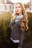 Gorgeous fashionable young blonde girl street portrait Stock Images