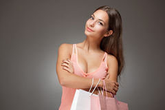 Gorgeous fashionable young shopper. Royalty Free Stock Photo