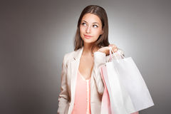 Gorgeous fashionable young shopper. Royalty Free Stock Image