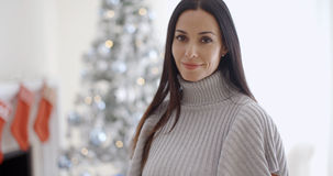 Gorgeous fashionable young woman at Christmas Stock Photo