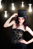Gorgeous Female Fashion Model Wearing Top Hat Royalty Free Stock Photo