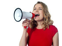 Gorgeous female with megaphone Stock Photos