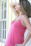 Gorgeous Female in Pink Top, Expecting Mother Royalty Free Stock Images