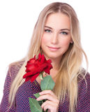 Gorgeous female with red rose Stock Image