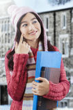Gorgeous female student in knitted sweater Royalty Free Stock Photography