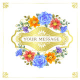 Gorgeous floral cards with golden frames Royalty Free Stock Photo