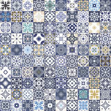Gorgeous floral patchwork design. Colorful Moroccan or Mediterranean square tiles, tribal ornaments. For wallpaper print, pattern. Fills, web background Royalty Free Stock Photos