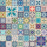 Gorgeous floral patchwork design. Colorful Moroccan or Mediterranean square tiles, tribal ornaments. For wallpaper print. Pattern fills, web background Royalty Free Stock Photography