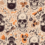 Gorgeous floral seamless pattern with skeleton skulls drawn in retro woodcut style, cartoon orange and brown flowers and. Funny insects against beige background Stock Images