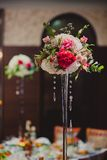 Gorgeous flowers on table in wedding day Royalty Free Stock Photo