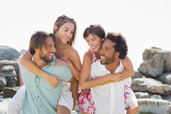 Gorgeous friends smiling at each other Royalty Free Stock Photo