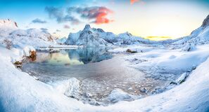 Free Gorgeous Frozen Flakstadpollen And Boosen Fjords With Cracks On Ice During Sunrise With Hustinden Mountain On Background On Royalty Free Stock Image - 201935246