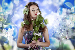 Gorgeous girl on abstrack flowers background Stock Photography