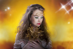 Gorgeous girl, artistic make up, proffesional photo Stock Photography