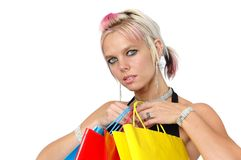 Gorgeous girl with bags Stock Images