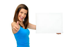 Gorgeous girl with blank presentation board Stock Photos