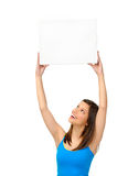 Gorgeous girl with blank presentation board Royalty Free Stock Images