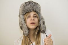 Gorgeous girl in fur hat Royalty Free Stock Image