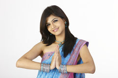 Gorgeous girl in greetings pose Stock Photography