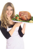 Gorgeous girl with honey baked ham Royalty Free Stock Photo