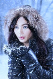 Gorgeous girl with jacket blowing snow Royalty Free Stock Photography