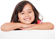 Gorgeous girl leaning on banner Royalty Free Stock Photography