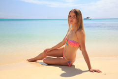 Gorgeous girl lying on the beach Royalty Free Stock Photo