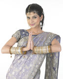 Gorgeous girl in namaskaram posture Stock Image