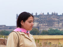 Gorgeous Girl near old place Stock Image