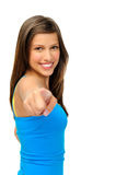 Gorgeous girl points towards camera Royalty Free Stock Images