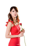 Gorgeous girl with a red rose. Beautiful young woman in a red dress holding a rose bud for her valentine Royalty Free Stock Photos