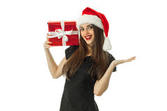 Gorgeous Girl in santa hat smiling Royalty Free Stock Images