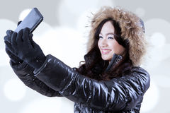 Gorgeous girl taking self picture Royalty Free Stock Photo