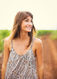 Gorgeous girl walking in the field, Summer Lifestyle Royalty Free Stock Photo