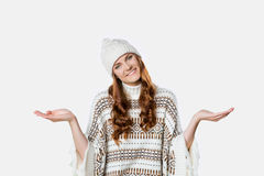 Gorgeous girl wearing warm knitted christmas jumper and a hat, xmas concept Stock Image