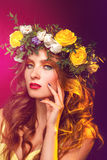 Gorgeous girl with wreath on hair Royalty Free Stock Photos